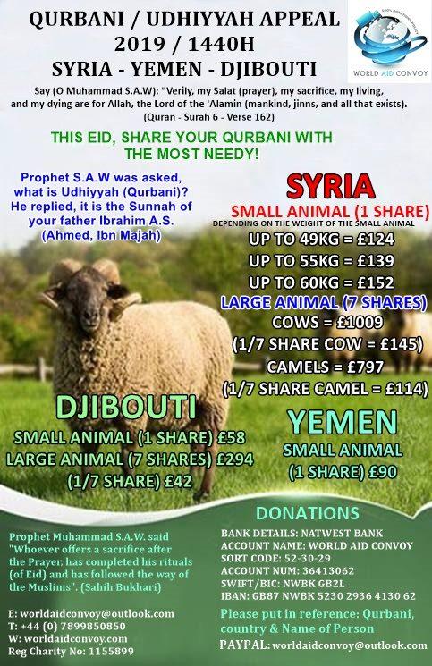 Qurbani/Udhiyyah Appeal 1440H / 2019 – World Aid Convoy
